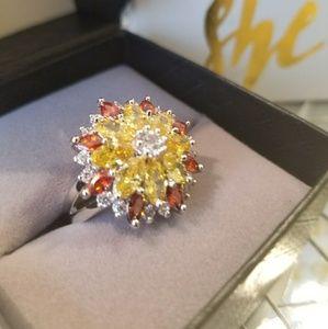 Jewelry - 💥💥Dazzling Garnet & Topaz Sterling Silver Ring❤